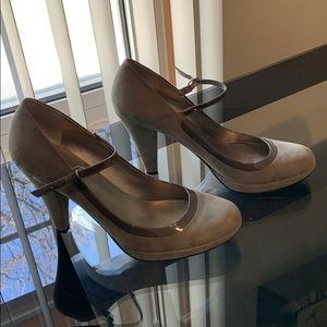 Gray Suede Mary Jane Shoes